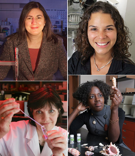 Here is a sampling of the CUNY female scientists spotlighted in the University's campaign to inform women students - and other - about their pioneering work. Clockwise from top left: Vicki Flaris, assistant professor of chemistry, Bronx Community College; Maribel Vazquesz, associate professor of biomedical engineering, City College; Mandë Holford, assistant professor of chemistry, York College and the CUNY Graduate Center; Lesley Davenport, professor of chemistry, Brooklyn College and the CUNY Graduate Center.