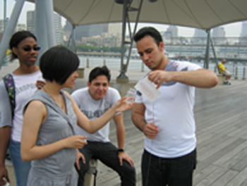 Working with Hudson River water samples are, from left to right: Jodi Ann-Young, Karmen Yu, Jorge Paucar and Steven Lora. Photo credit: Urmi Ghosh-Dastidar.