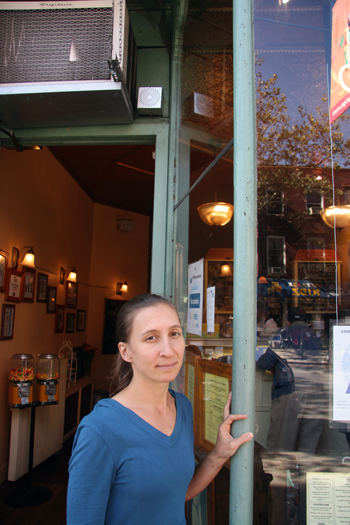 Sweet Melissa on Court Street in Cobble Hill is one site of Spevack's bird song project. Audio speaker is above her head, adjacent to a/c unit. Photo credit: Matt Isaac.