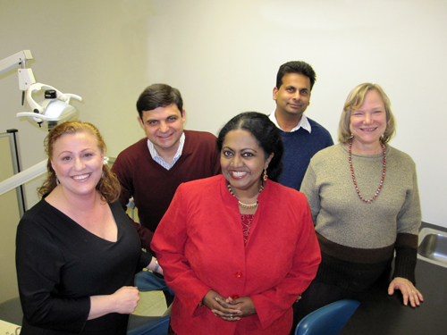 City Tech's oral cancer awareness team includes, from left: Dr. Gwen Cohen-Brown (dental hygiene), Dr. Boris Gelman (physics), Dr. Laina Karthikeyan and Dr. Sanjoy Chakraborty (biological sciences) and Dr. Pamela Brown, Dean of Arts and Sciences.