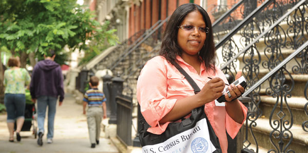 LaGuardia Student La'Nette McGill on the job last year as a Census field operations supervisor.
