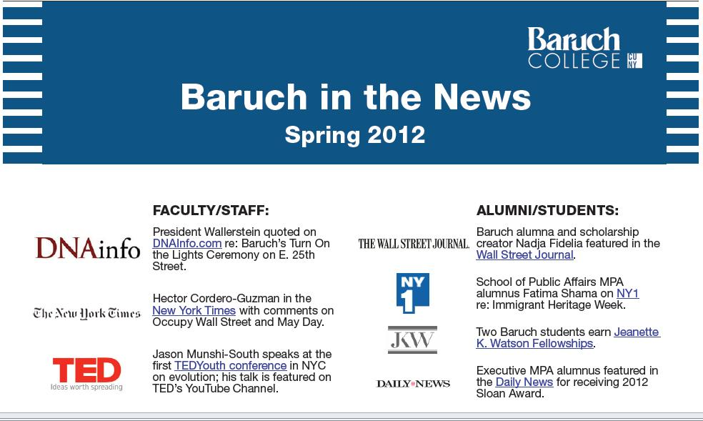 baruch in the news