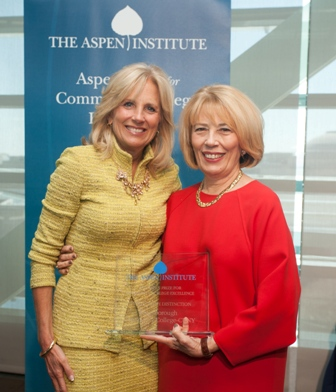 Dr. Jill Biden congratulates Dr. Regina Peruggi, president of Kingsborough Community College, after the college was named one of the top four  community colleges in America.
