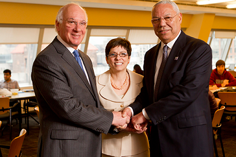 Chancellor Matthew Goldstein, President Lisa Coico and Ret. General Colin Powell announcing new Powell School Civic for Global Leadership at City College.