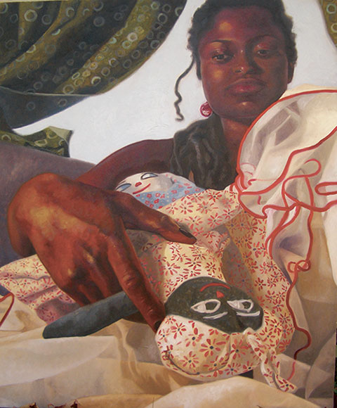 "Doll, 34"" x 28"", oil on linen, 2009, Nina Buxenbaum"