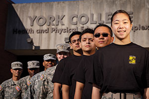 Rose Lee, front-right, at York College's ROTC