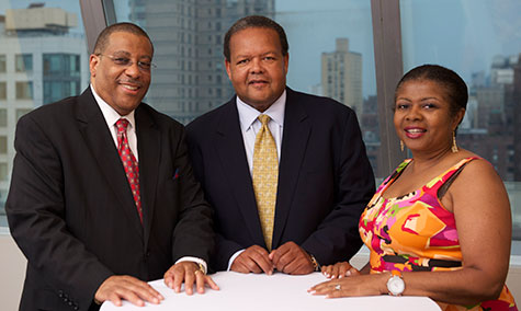 From left to right: CUNY Board of Trustees Vice Chairperson Philip Alfonso Berry, Dr. Rudolph Crew and Medgar Evers College Presidential Search Committee Chairperson and Trustee Valerie Lancaster Beal