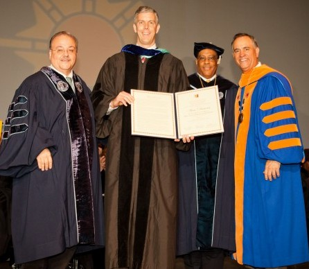 Senior Vice Chancellor for University Relations, Jay Hershenson; Secretary Duncan; Vice Chairperson Philip Alfonso Berry; Hostos President Félix V. Matos Rodríguez