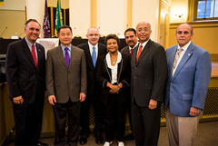 (l to r) President Felix V. Matos Rodriguez, John Liu, Sal F. Albanese, President Carole M. Berotte Joseph, Erick Salgado, William C. Thompson, Jr. and President Ricardo R. Fernández.