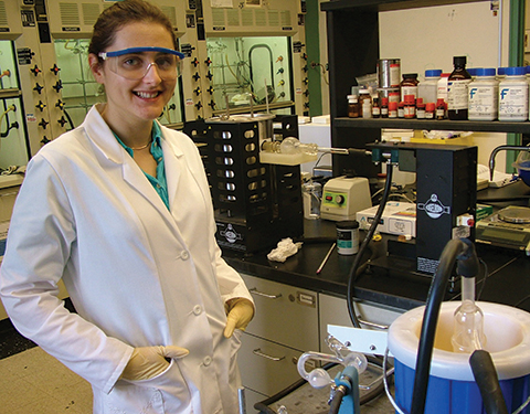 Olga Lavinda worked with Baruch chemistry professor Keith Ramig to crystallize the structure of the indigo pigment.