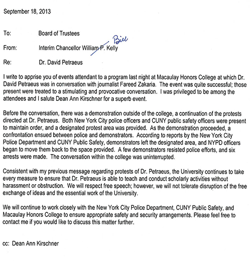Interim Chancellor William P Kellys Message To CUNY