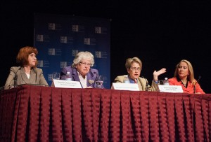 2013 Women's Leadership Conference. A Kaye Playhouse session, from left: Brooklyn College President Karen Gould, moderator; State Senator Toby Ann Stavisky, Assemblymember Deborah Glish, speaking, and Assemblymember Gabriela Rosa, panelists. 10/25/2013.
