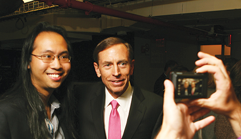Dr. David Petraeus, four-star general and former CIA director, mingles with students at Macaulay Honors College reception.