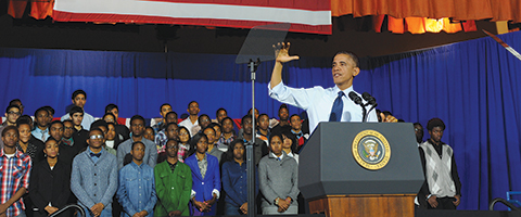 President Obama speaks to the students at P-TECH.