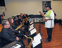 Bernard Purdie gives some tips to the York College Big Band.