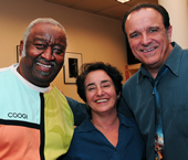 "Event organizer Bettina Covo flanked by Bernard ""Pretty"" Purdie and Rob Paparozzi."