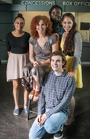 Claudia Feldstein, center, with former students, from left, Rosanny Zayas, Shaunette Wilson, Gabrielle Georgescu and Thomas Stagnitta.