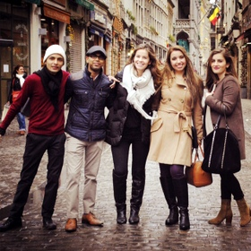 Model European Union participants from City College in Brussels' Grand Place: (l. to r.) Shantana Roy, Cesar Kastro, Albana Gjoncegaj, Paulina Levya and Salome Gvinianidze. (Not present) Lyndsey Zeichner.