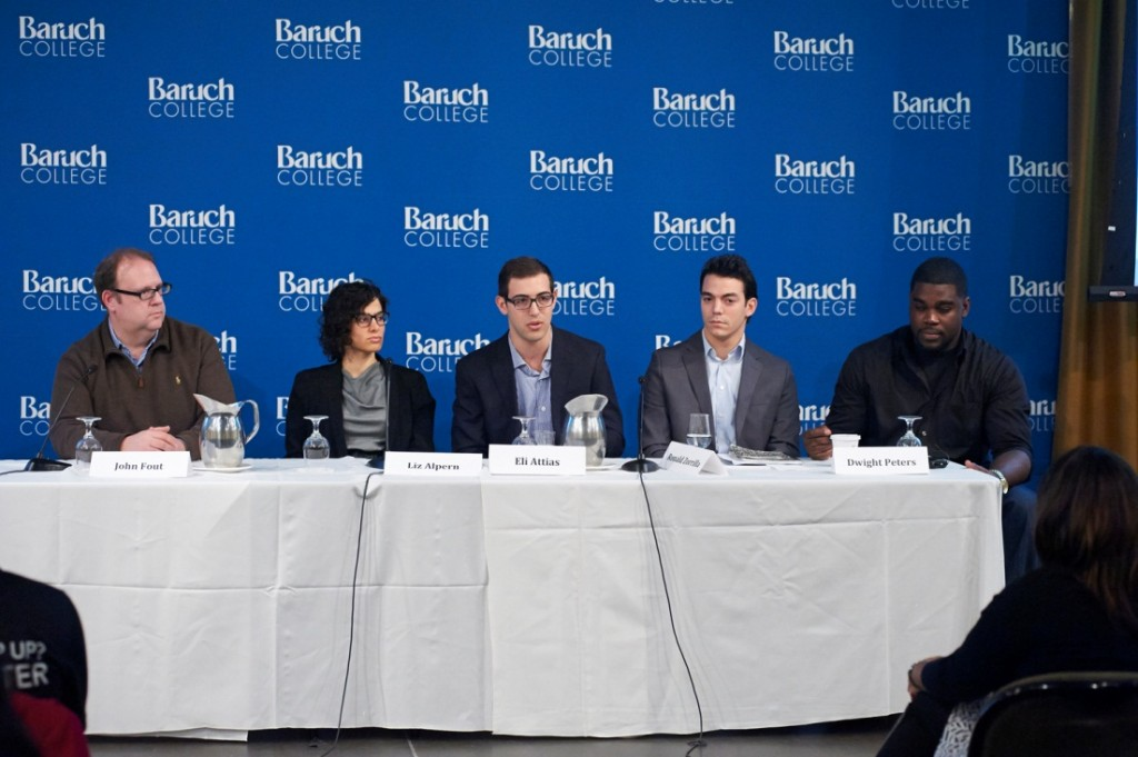 The panel included (from L-R): John Fout, founder of Sohha Savory Yogurt; Elizabeth Alpern, co-founder of The Gefilteria; Eli Attias, founder of Examblr; Ronald Zorrilla, founder of Outdoor Project; and Dwight Peters, founder of Backershub.com.