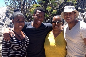 City College Mellon Mays Undergraduate Fellows (l. to r.) Shanna Jean-Baptiste, Emmanuel Lachaud, Debra Williams and Rene Cordero spent five days in January at the University of Cape Town in South Africa.