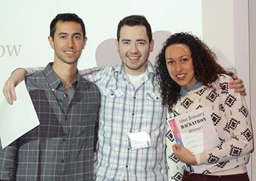 The winning team (Team 5) of the 1st Annual Idea Brewery Hackathon. From L-R: Arthur Jutz, Crae Sosa, both from CCNY, and Esther Lykes of Baruch College.