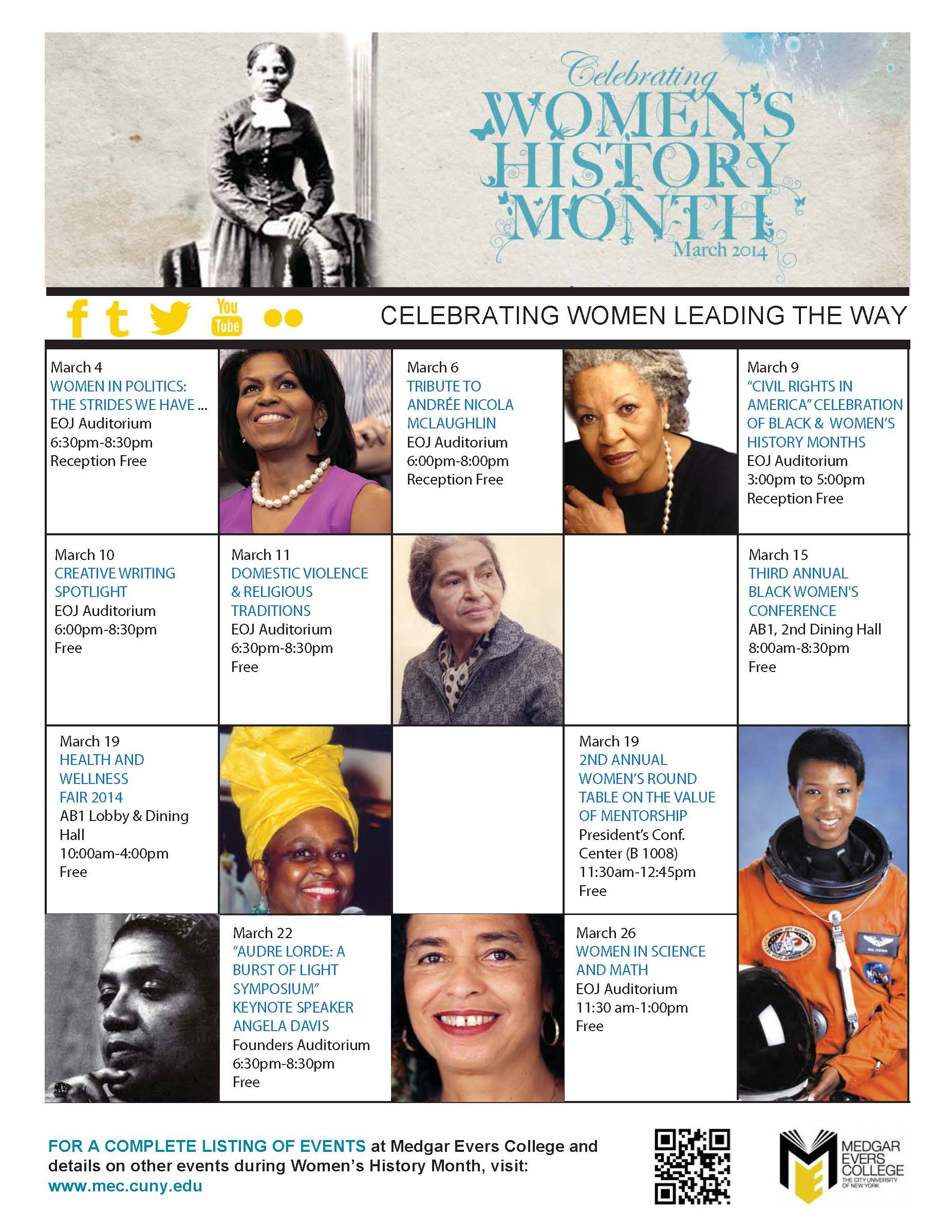 the event of womens history month Miami university regionals are sponsoring a number of events for women's history month.