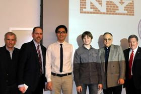 Lenny Chan, third from left, and Roman Hatnyanskyy, first place winners in the Spitzer School of Architecture brick design competition for third-year undergraduates with, left to right, Arthur DelSavio, president, DelSavio Construction; Milo Silberstein, International Masonry Institute; Spitzer School Dean George Ranalli, and Jerry Sullivan, president, International Union of Bricklayers and Allied Craftworkers, Local 1