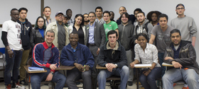 Grove School of Engineering and Hostos Community College students at a recent information session on joint degree programs in engineering.