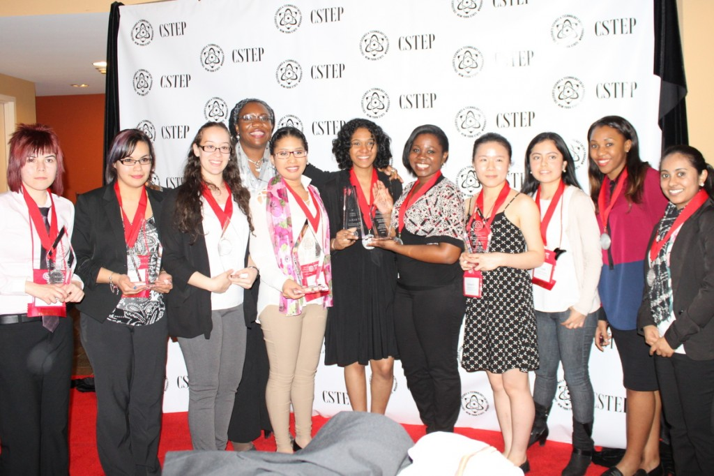 City College of New York winners and presenters celebrate at the New York State CSTEP Student Conference held April 11 – 13 in Lake George. (Left to right) Violeta Contreras-Ramirez, Stephanie Montenegro, Rosmery Rodriguez, CCAPP deputy director Nkem Stanley-Mbamelu, Giselle Gonzalez, Yasiri Portorreal, Michelle Henderson, Qiangmei Chen, Cyndi Gonzalez, Maxime Montour and Sahista Kapadia.