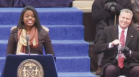 Medgar Evers senior Lissette Ortiz at the swearing-in ceremony of Mayor Bill de Blasio