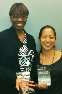 J. Max Bond Center Director Toni Griffin, left, and Deputy Director Esther Yang were recognized for their role in hosting the Public Interest Design Institute held at City College March 24 - 25.