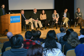 City College of New York Assistant Professor of Biology Mike Hickerson (at podium), who directed the Student Ancestry Project, leads a panel discussion and Q&A session with prominent population geneticists about the findings and their implications. © AMNH/R. Mickens.