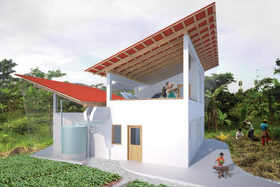 Rendering of the Yantaló Hospital Volunteer House showing the butterfly roofing system, which collects rainwater to be used for bathing and laundry.