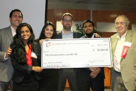 Members of the GesTone team receive the Kaylie Prize. (From left) Haytham Elhawary, executive director, Zahn Innovation Center; GesTone team members Ann Marie Valuakulathil and Tanya Uddin; Professor Marom Biksonl GesTone team member Tanjin Panna, and City College alumnus and competition benefactor Harvey Kaylie, '60.