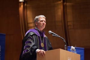 Chancellor James B. Millliken greets students at the Graduate Center's 50th Commencement at Avery Fisher Hall, June 3.