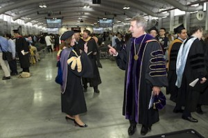 Chancellor James B. Milliken in conversation with LaGuardia Community College President Gail O. Mellow during commencement exercises June 5.