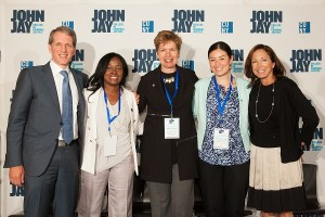 (L-R) Peter Beshar, John Jay Trustee; Lisa Beatha, CUNY Director of Veterans Affairs, Brigadier General Loree Sutton;  John Jay student Carolina Vasquez, U.S. Navy; and Lois K. Backon, Chase Corporate Partner Marketing