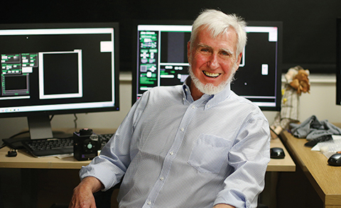 John O'Keefe, Nobel Prize winner, in his lab at University College London