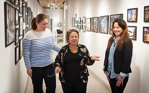 BMCC scholarship benefactor Elizabeth Butson, center, at the Fiterman Art Center, with two students who have benefited from her scholarships, Gentiana Rina from Albania, at left, and Bibechanya Basnet from Nepal.