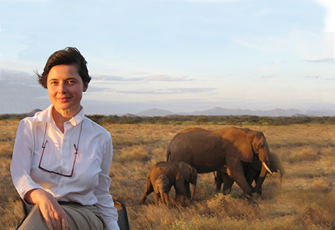 Isabella Rossellini, with the elephants, in Africa