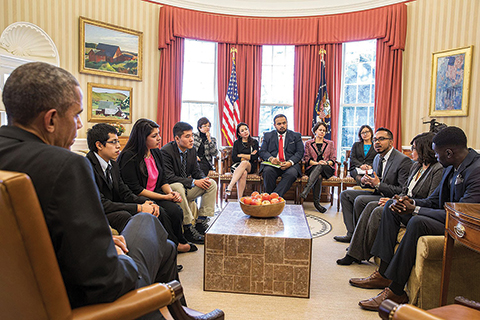 Hunter College alumnus Rishi Singh, speaking, was one of the undocumented immigrants who met with President Obama to push for immigration reform.