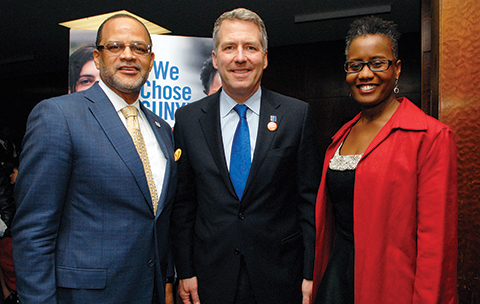 Chancellor James B. Milliken with 2015 CUNY Educational Leadership Award winners Arva Rice (right) and David Banks (left).