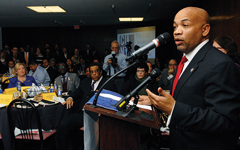 Speaker of the New York State Assembly Carl E. Heastie addresses the CUNY and Black, Puerto Rican, Hispanic and Asian Caucus Conference Luncheon in Albany.