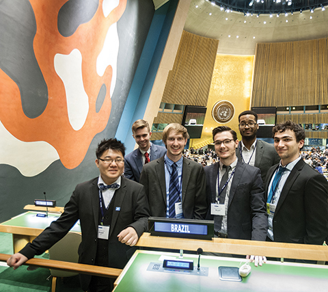 Members of Hunter's award-winning Model UN Team