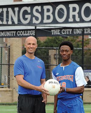 Kingsborough's Keith Heron with Nigerian-born Kelvin Ahire- Thomas,