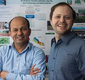 """I suspected that the damage in my villages would be worse than in Katmandu. And I was correct."" -- Tarendra Lakhankar, Environmental engineer and assistant professor of research at City College Tarendra Lakhankar, left, and Nir Krakauer, professors at City College."