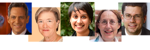 (l-r) Bill Ritter, Kathryn Wylde, Nisha Agarwai, Nancy Foner and Jacob Vigdor.