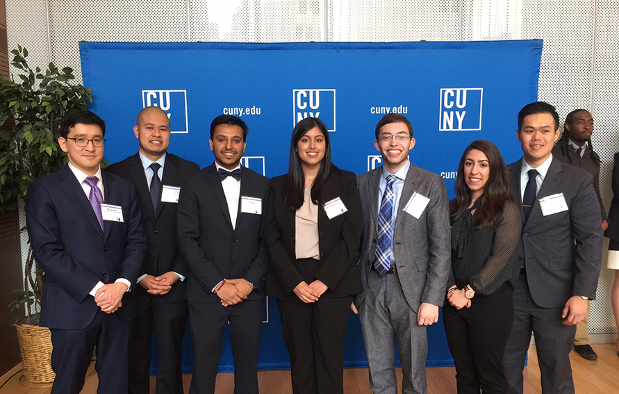 The 2016 Jonas E. Salk Scholars from left to right: Min Gyu Noh (City College); Alex Bonilla (Macaulay Honors College at City College); Joy Patel (City College); Muhddesa Lakhana (Macaulay Honors College at City College); Christos Mouzakitis (Macaulay Honors College at Queens College); Danielle Cohen (Macaulay Honors College at Queens College); and Allen Ko (Baruch College). Not pictured: Jennifer Zagelbaum (Macaulay Honors College at Hunter College).