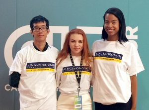 Four Kingsborough students were selected to attend the launch of the Careers in Entertainment Tour (CIE), an initiative of the Will & Jada Smith Family Foundation to diversify the entertainment industry. Left to right: Eric Chang, Evgeniia Mangubi, Charlette Williams. Not pictured: Adrian L. Sinclair