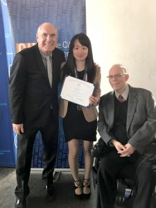 photo of KCC student Mei Wai Tsui with President Herzek and Christopher Rosa, CUNY's Interim Vice Chancellor for Student Affairs.